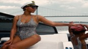 Beyonce and Blue Ivy Sport Matching Snakeskin Swimsuits